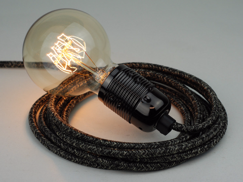 Plug-in Pendant | Premium Round Fabric Cable | Black Marl