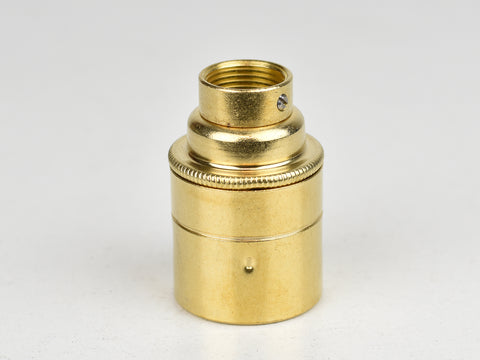 E27 Brass Bulb Holder | 20mm Conduit Fitting | Plain Brass - Vendimia Lighting Co.