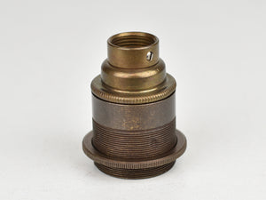 E27 Brass Bulb Holder | 20mm Conduit Fitting | Threaded Old English Brass - Vendimia Lighting Co.