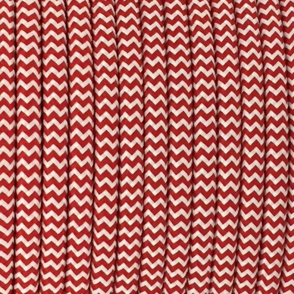 Round Fabric Cable | Chevron Red & White - Vendimia Lighting Co.
