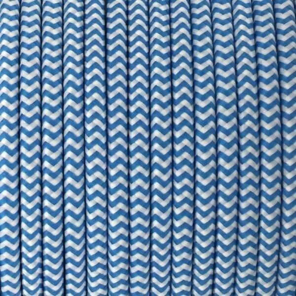 Fabric Cable | Round | Chevron Blue & White - Vendimia Lighting Co.