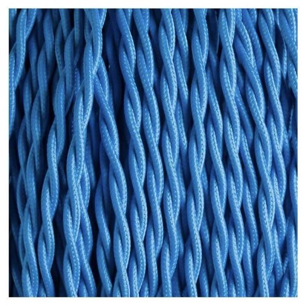 Fabric Cable | Twisted | Azure Blue - Vendimia Lighting Co.