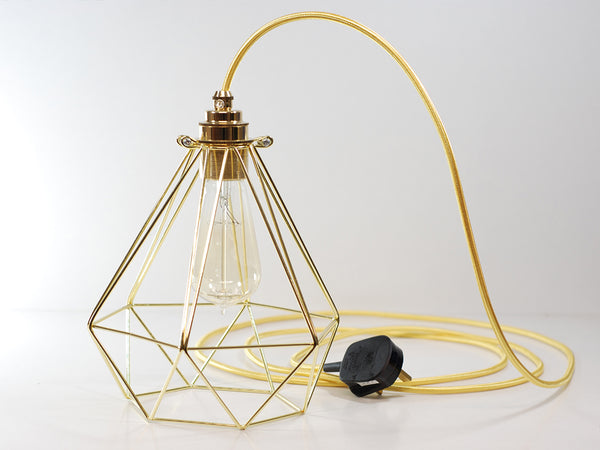 Pure Gold Vintage Industrial Diamond Pendant Wire Cage Desk Side Lamp Light & Edison Filament Bulb - Vendimia Lighting Co.