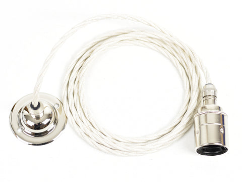 E27 Pendant Light Fitting Set | Nickel Silver & Cream - Vendimia Lighting Co.
