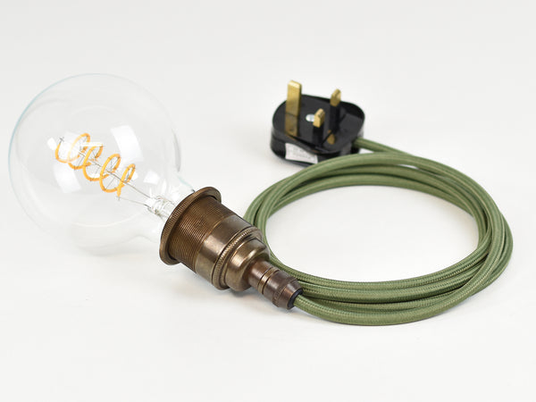 Plug-in Pendant | Premium Brass Lamp Holder | Old English Brass & Army Green - Vendimia Lighting Co.
