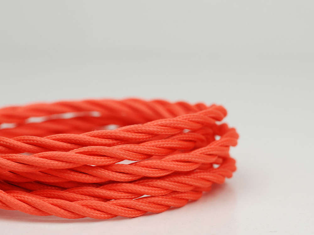Fabric Cable | Twisted | Shocking Orange - Vendimia Lighting Co.