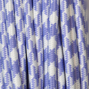 Round Fabric Cable | Houndstooth Lilac & White - Vendimia Lighting Co.