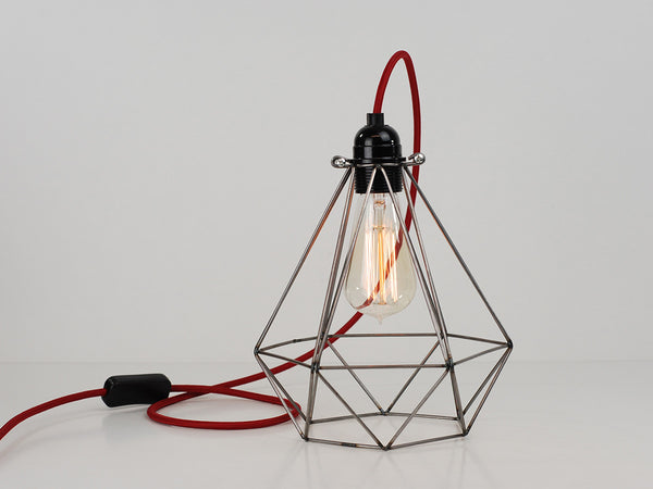 Desk Lamp | Diamond Cage | Raw Steel - Vendimia Lighting Co.