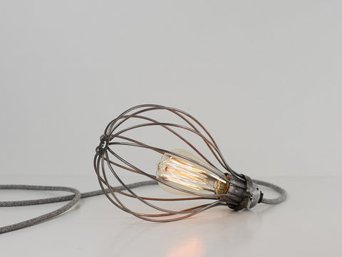 Desk Lamp | Premium Balloon Cage | Raw Steel - Vendimia Lighting Co.