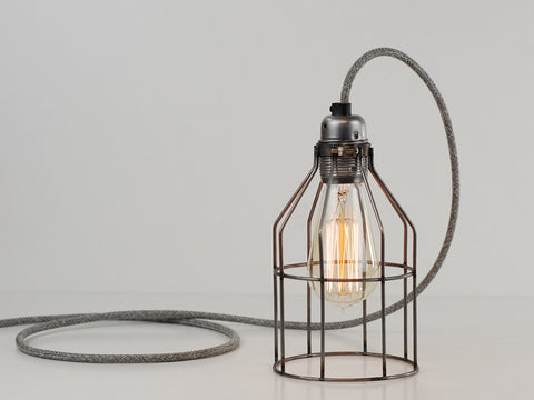 Desk Lamp | Premium Bird Cage | Raw Steel - Vendimia Lighting Co.