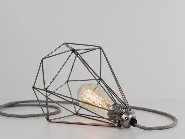 Desk Lamp | Premium Diamond Cage | Raw Steel - Vendimia Lighting Co.