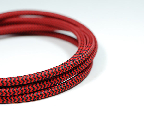 Fabric Cable | Round | Chevron Black & Red - Vendimia Lighting Co.