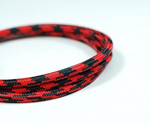 Round Fabric Cable | Black & Red Houndstooth - Vendimia Lighting Co.