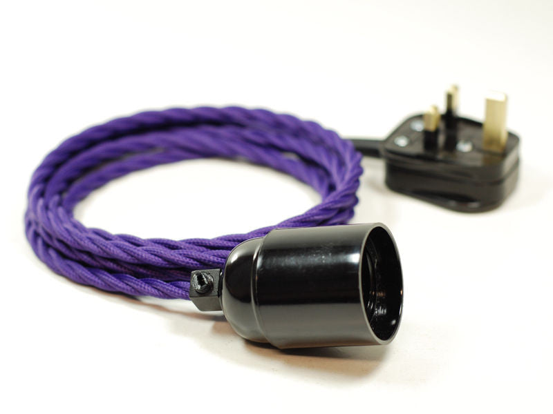 Plug-in Pendant | Twisted Fabric Cable | Imperial Purple - Vendimia Lighting Co.