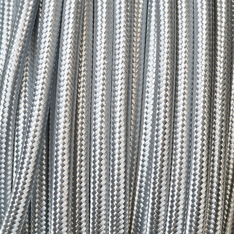 Fabric Cable | Round | Metallic Silver - Vendimia Lighting Co.