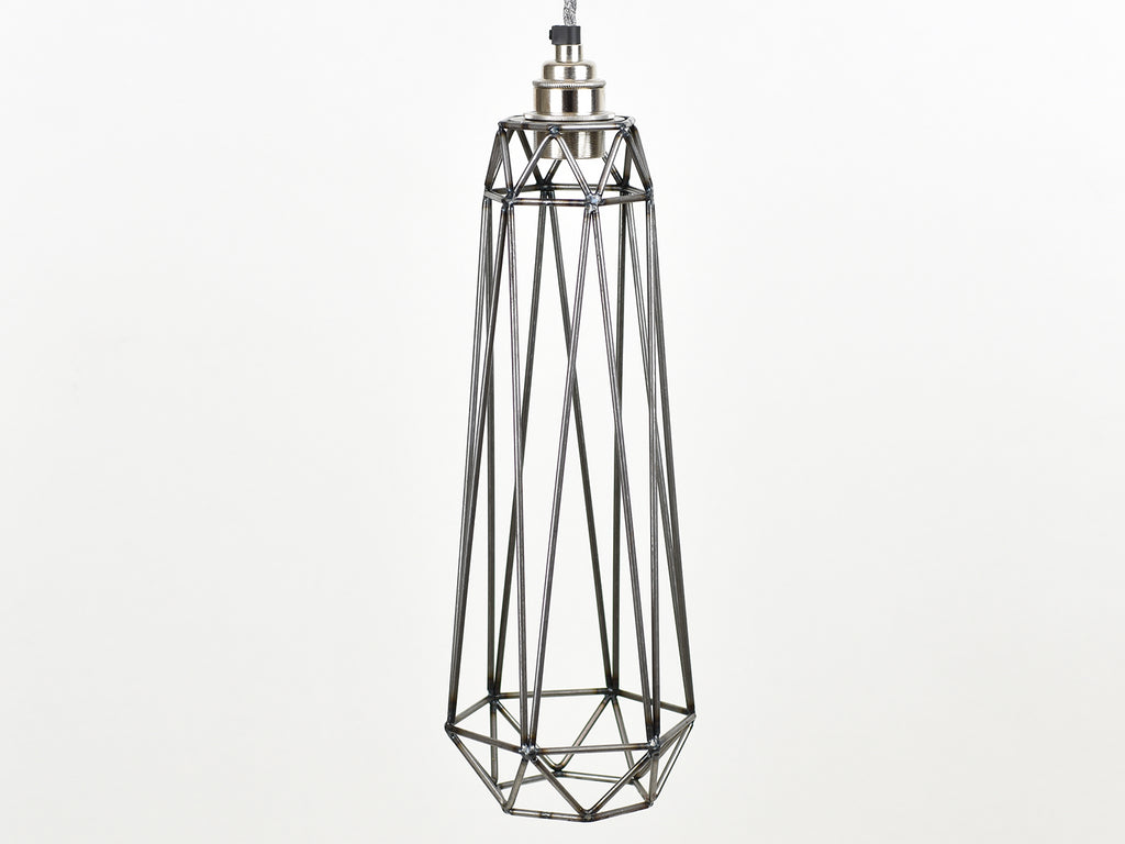 Cage Shade | Tube | Raw Steel - Vendimia Lighting Co.