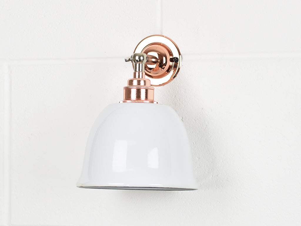 Wall Light | Knuckle Shade | Copper & White