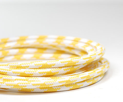 Round Fabric Cable | Yellow & White Houndstooth