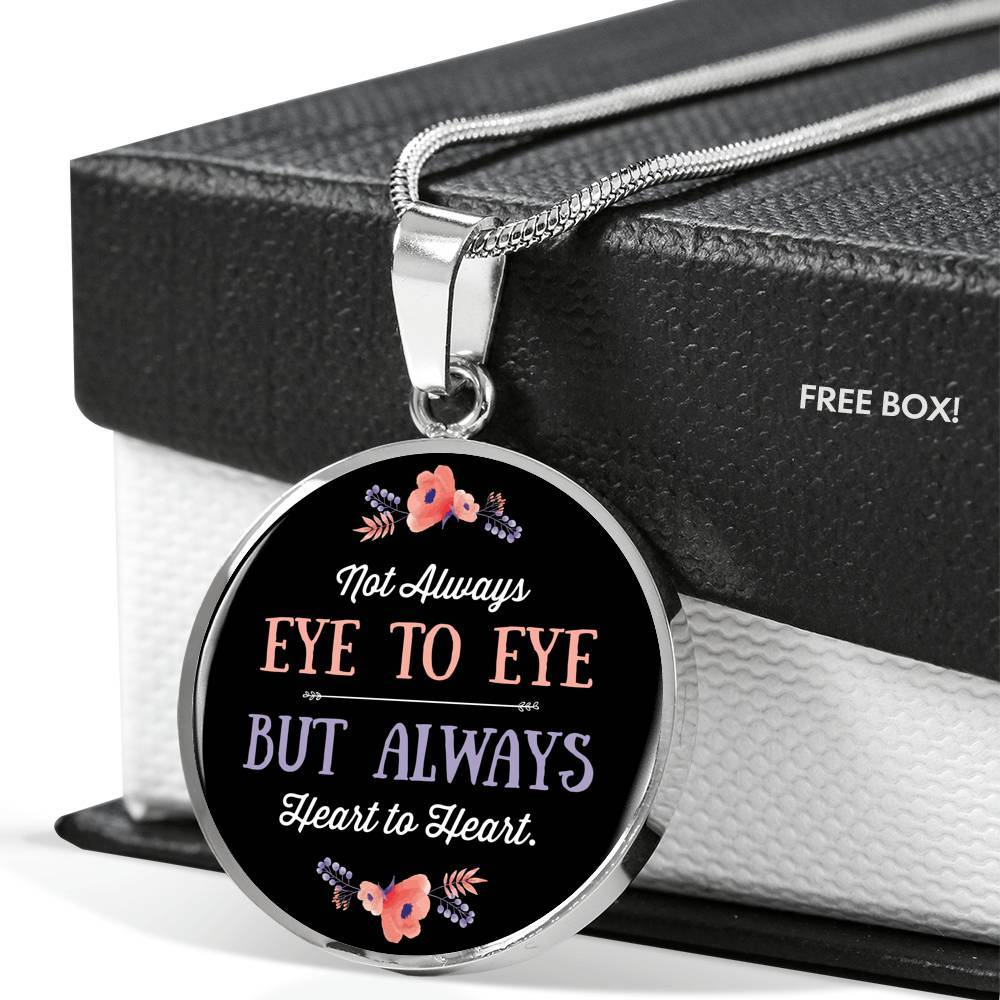 eye to eye silver necklace bangle with round charm
