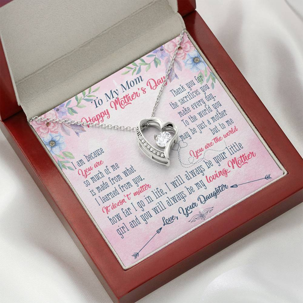 Happy Mother's Day - Forever Love Necklace Jewelry ShineOn Fulfillment Mahogany Style Luxury Box