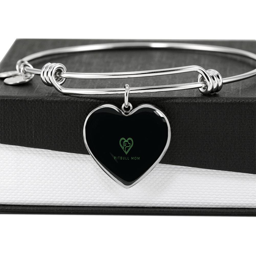 Pitbull Mom Heart bangle Bracelet (Exclusive)