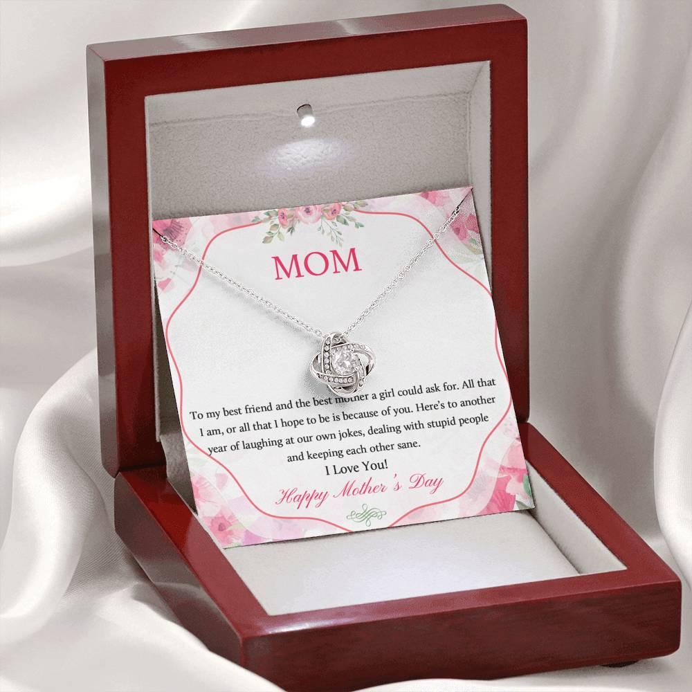 Happy Mother's Day - Mom Necklace Jewelry ShineOn Fulfillment Mahogany Style Luxury Box