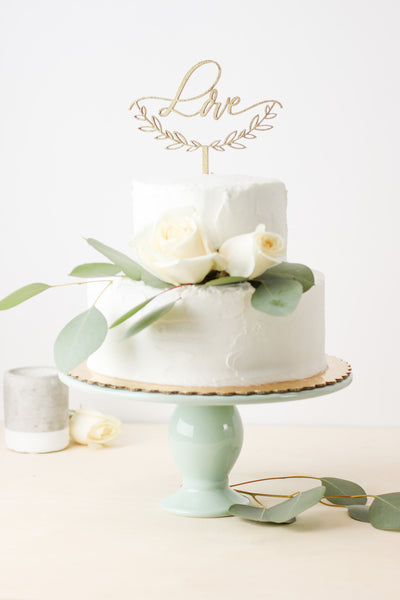 Love with Half Wreath- Cake Topper