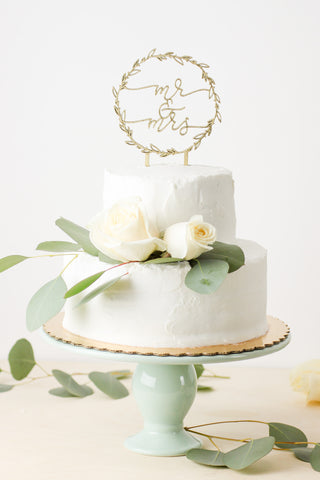 Mr & Mrs Wreath- Cake Topper