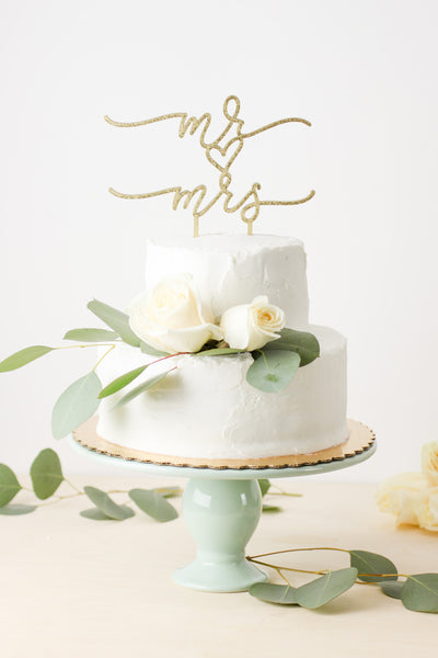 Mr. Heart Mrs.- Cake Topper