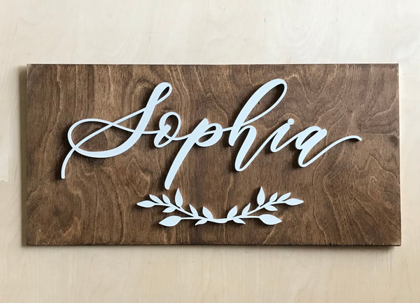 Custom Medium Name Wooden Plank - 12 x 24