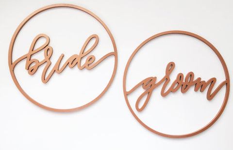 Bride and Groom Circle- Chair Backs