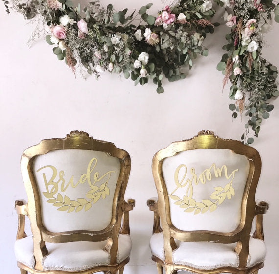 Bride and Groom Half Wreath- Chair Backs