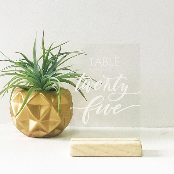 Custom Acrylic and Vinyl Table Numbers- Unstained