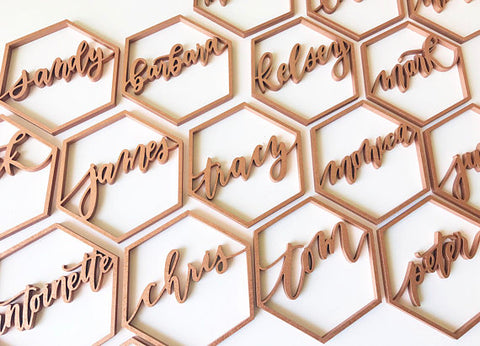 Custom Geometric Name- Place Card Settings