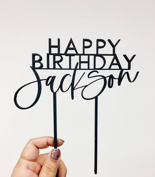 Custom Happy Birthday Laser Cut Cake Topper