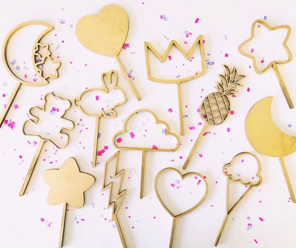 Moon - Star - Crown - Bear - Bunny - Pineapple - Cloud - Shape Laser Cut Cake Toppers