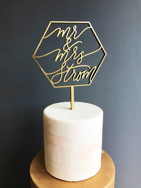 Custom Mr & Mrs Geometric- Cake Topper