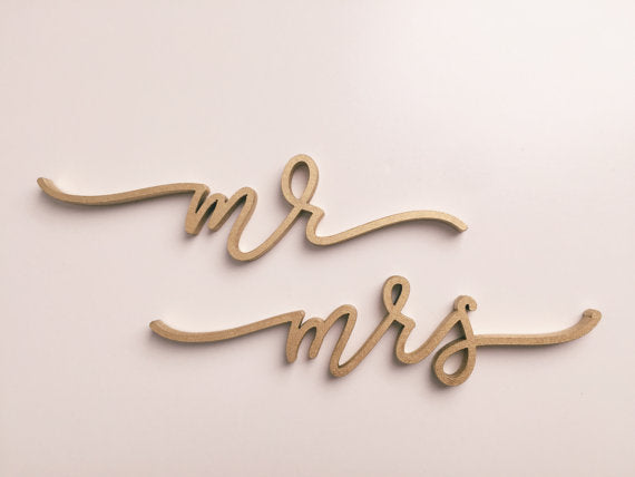 Mr and Mrs- Place Card Settings