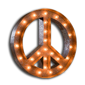 "Peace Sign 48"" - Rust - Free Shipping"