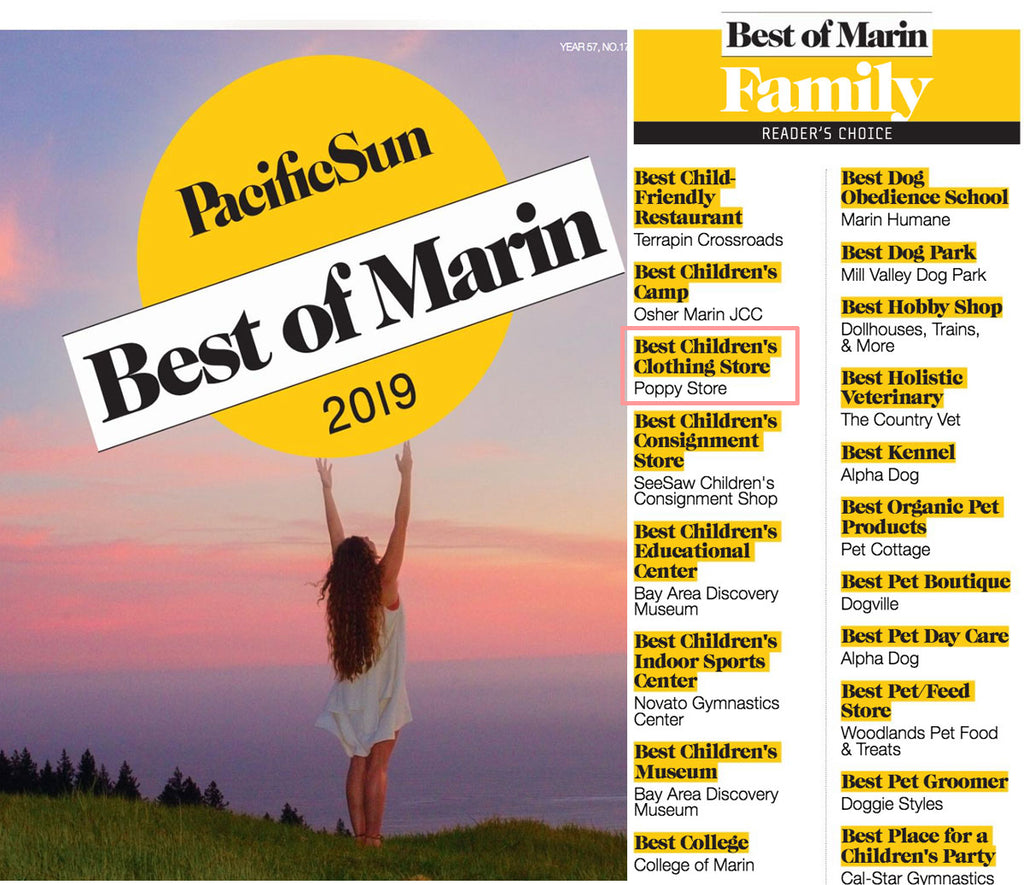 Congratulations to Poppy Marin: Best Children's Clothing Store of Marin 2019!