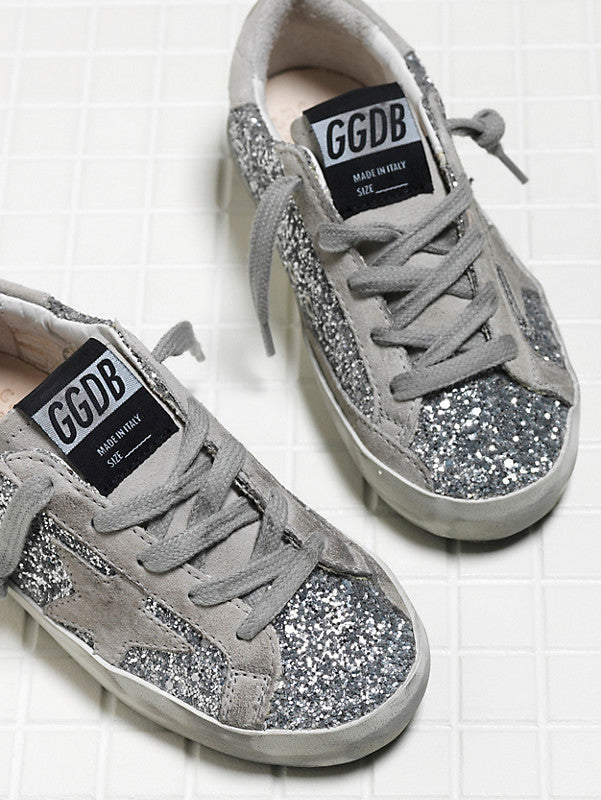Golden Goose Kids Designer Sneakers Superstar Silver Sparkle
