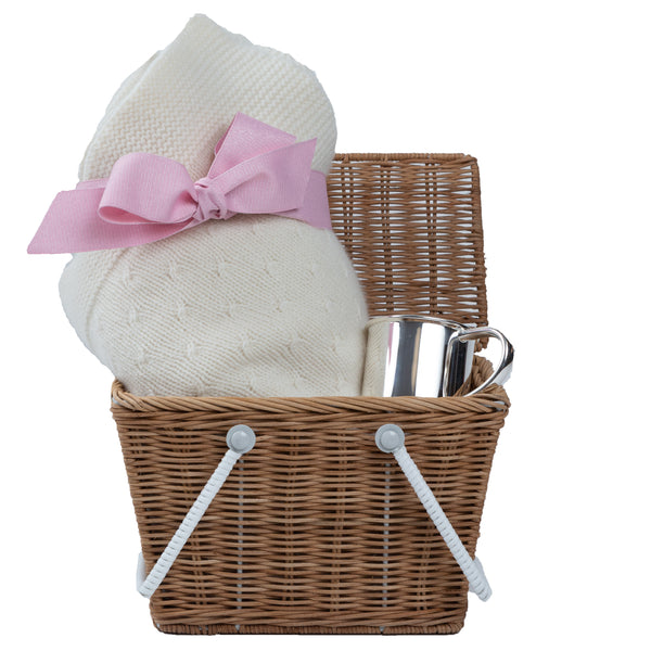 For Baby Girl a luxury gift basket, cashmere blanket with pink bow and silver baby cup