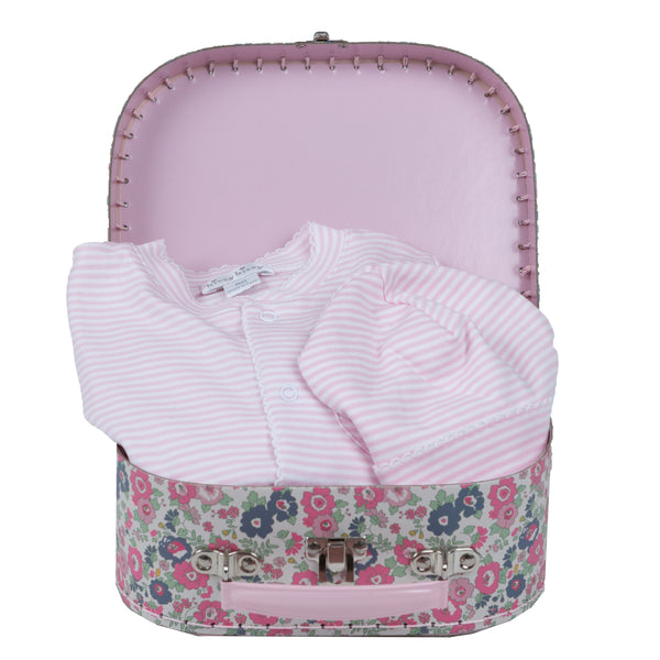 Baby Girl Basic Gift Basket - Floral Suitcase