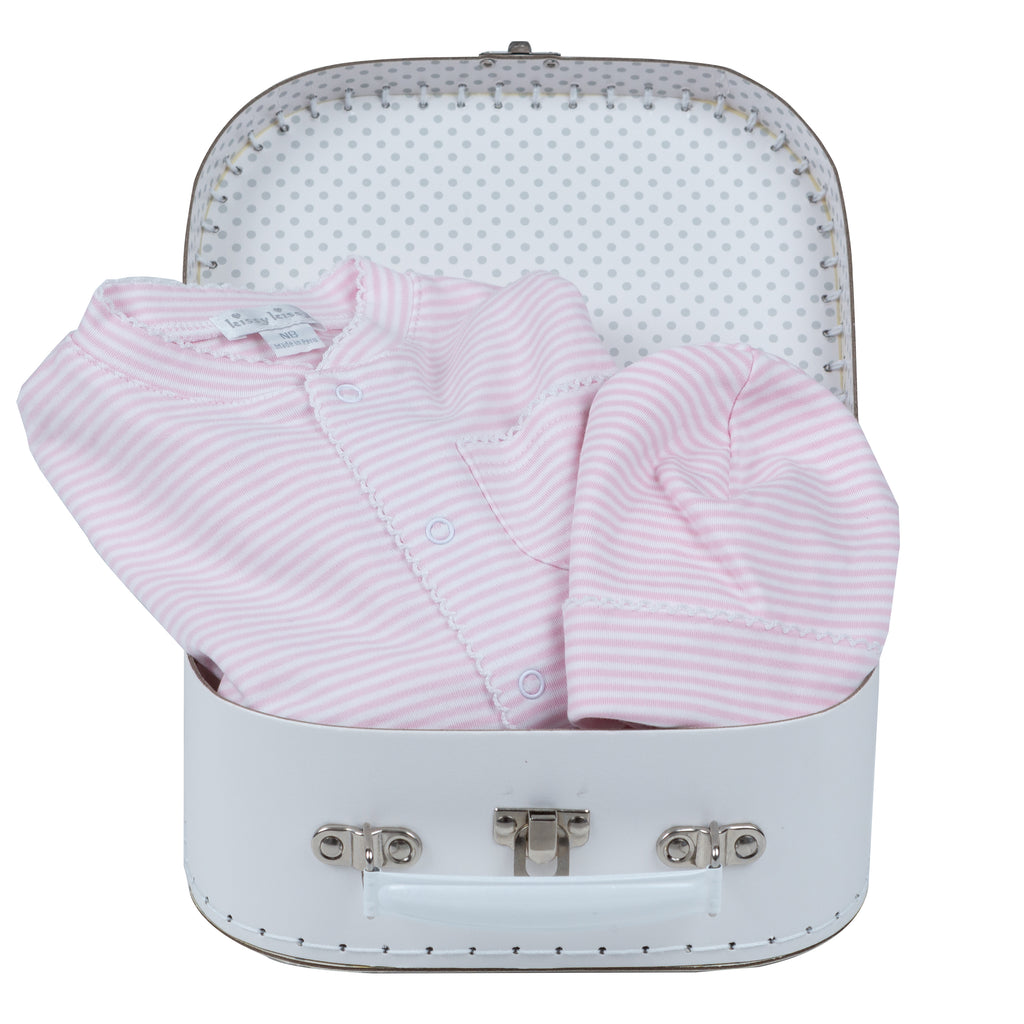 Baby Girl Basic Gift Basket - White Suitcase