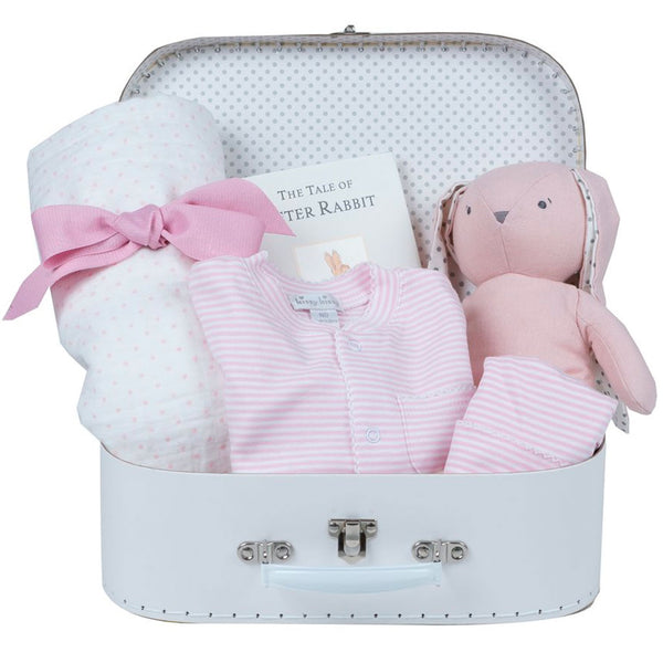 Baby Girl Gift Basket - White Suitcase
