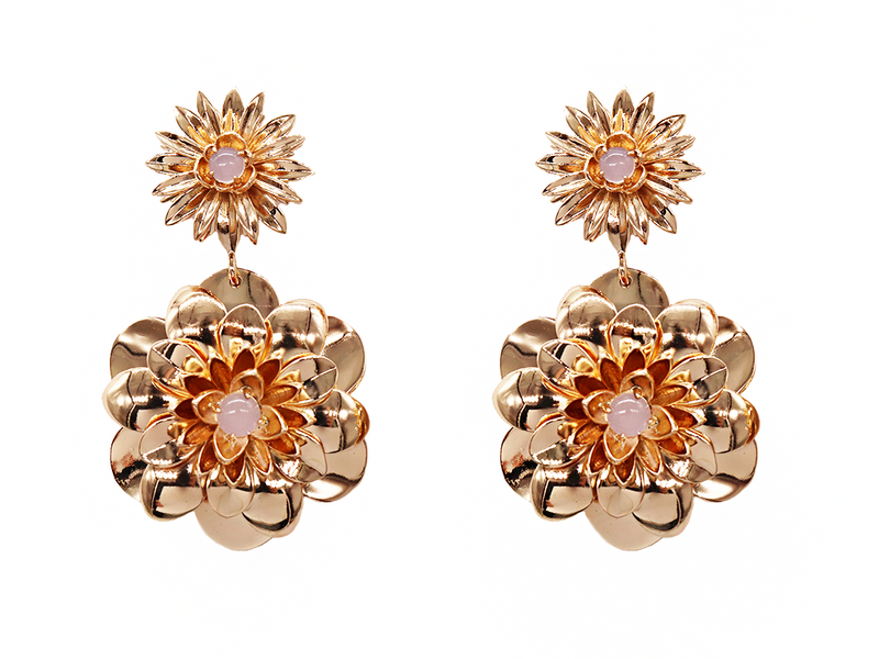 Dahlia Flower Earrings - LALOU