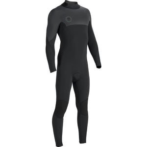 VISSLA 7 SEAS 3/2 BACK ZIP FULL SUIT BLACK SMOOTHY