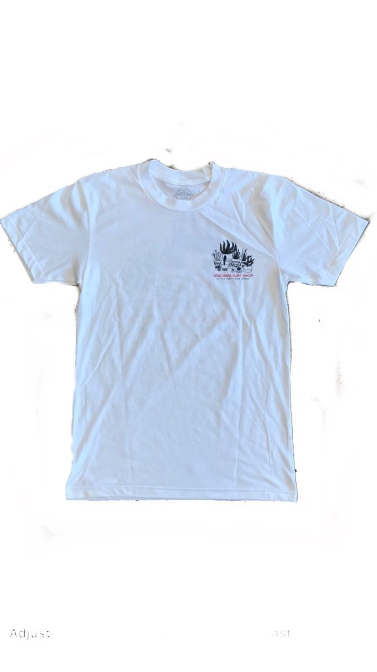 ATACAMA SURF SHOP TEE SHIRT 100% COTTON WATER BASE INKS LOCALLY MADE