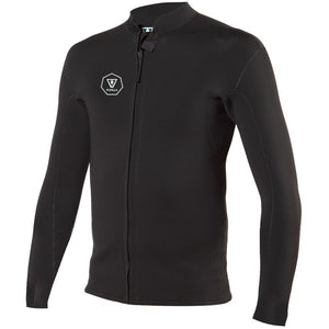 VISSLA 2MM FRONT ZIP JACKET BLACK WITH JADE