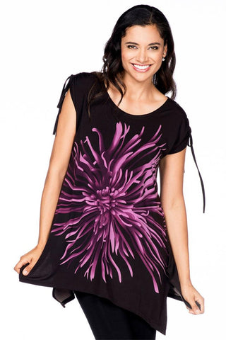 Red Coral Chrysanthemum Tunic 0984-18 Purple